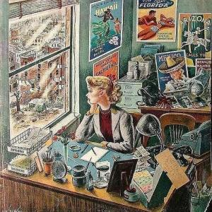 travel-agent-at-desk-1949-illust-by-constantin-alajalov
